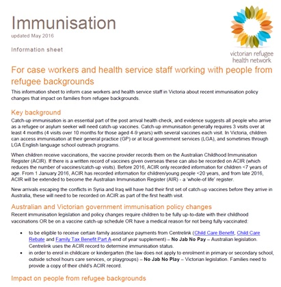 Victorian Refugee Health Network » Immunisation Information for