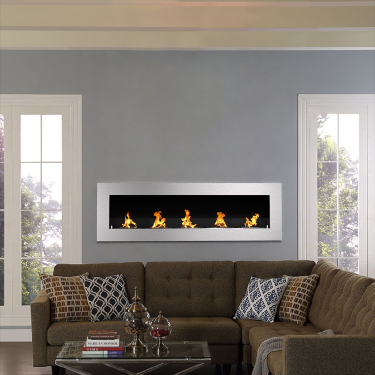 Ventless Wall Mount Gas Fireplace Warren 72 Inch Pro Ventless Built In Recessed Bio Ethanol