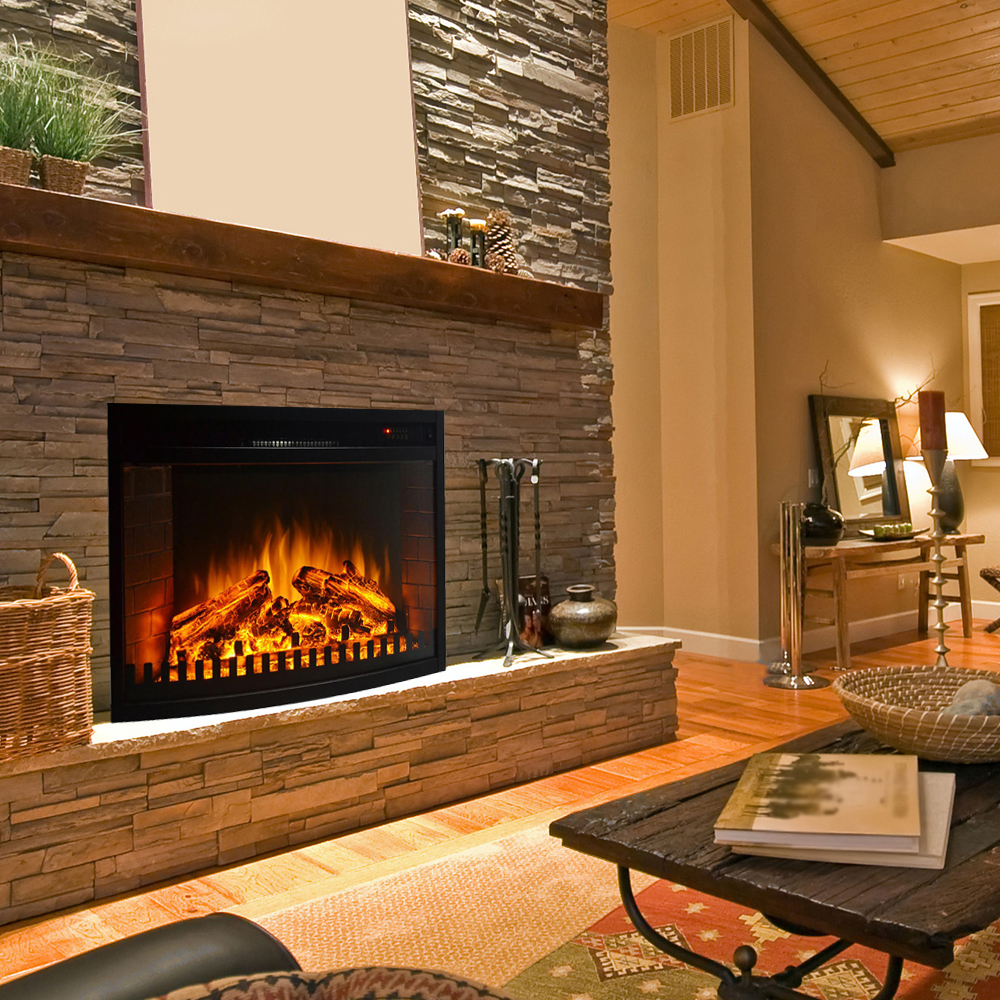 Curved Electric Fireplace 28 Inch Curved Ventless Heater Electric Fireplace Insert
