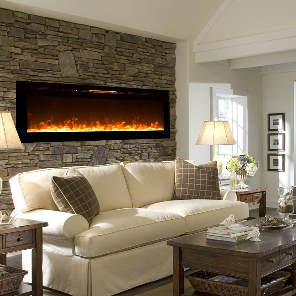 Electric Fireplace Built Into Wall Astoria 60 Inch Built In Ventless Heater Recessed Wall Mounted Electric Fireplace Crystal