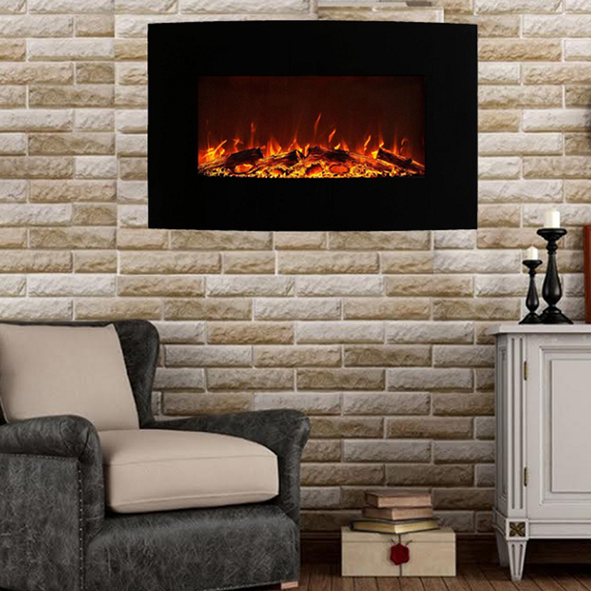 Wall Mount Fireplace Heaters Madison 35 Inch Ventless Heater Electric Wall Mounted Fireplace Log