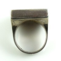 Vintage Chunky Heavy Sterling Silver Malachite Mens Ring 6.5