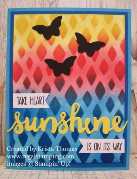 Blended Ink Ombre Stenciling Technique by Krista Thomas, SIP #63 Challenge, www.regalstamping.com