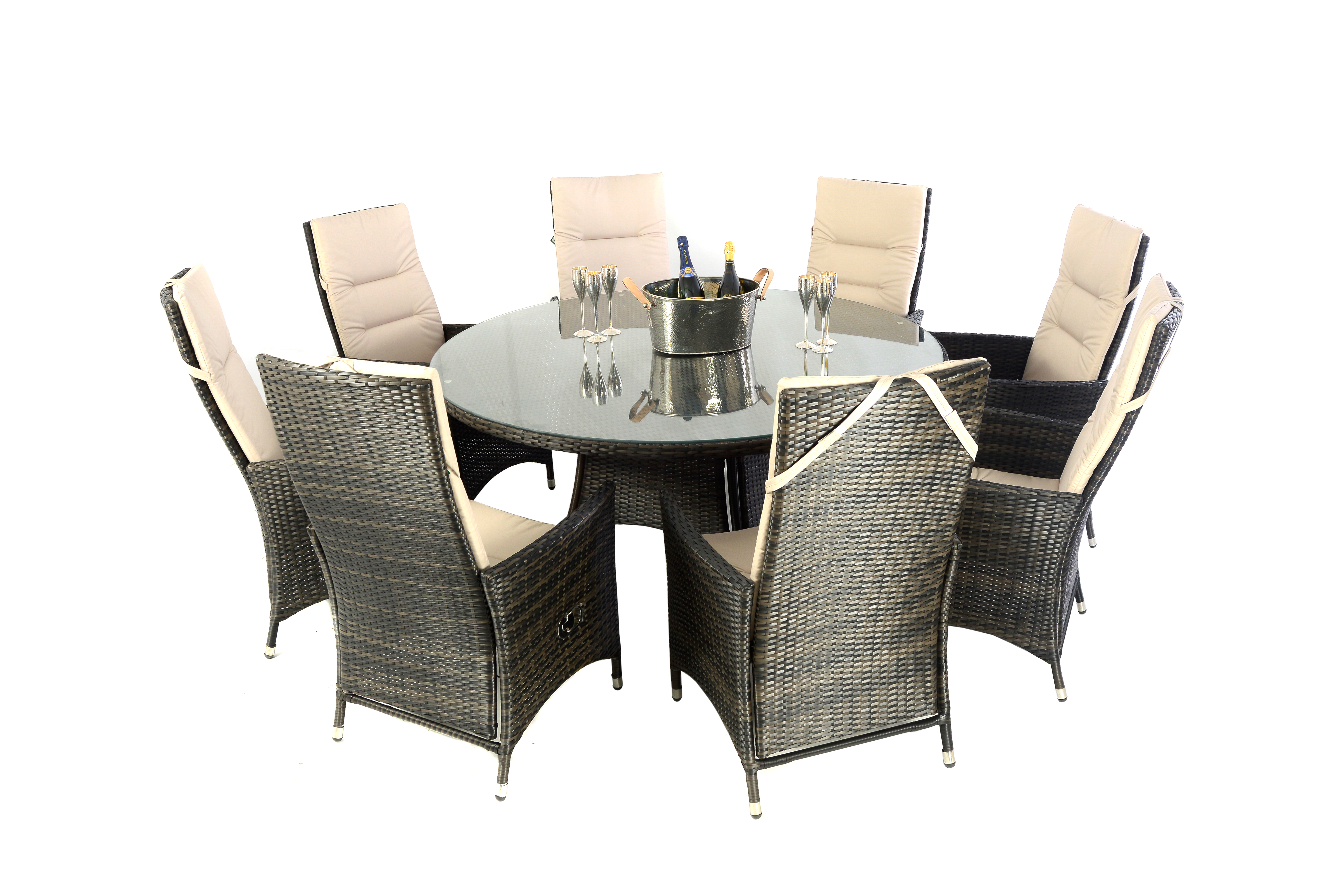 Rattan Table Kensington Club 165cm Rattan Table With 8 Reclining Dining Chairs