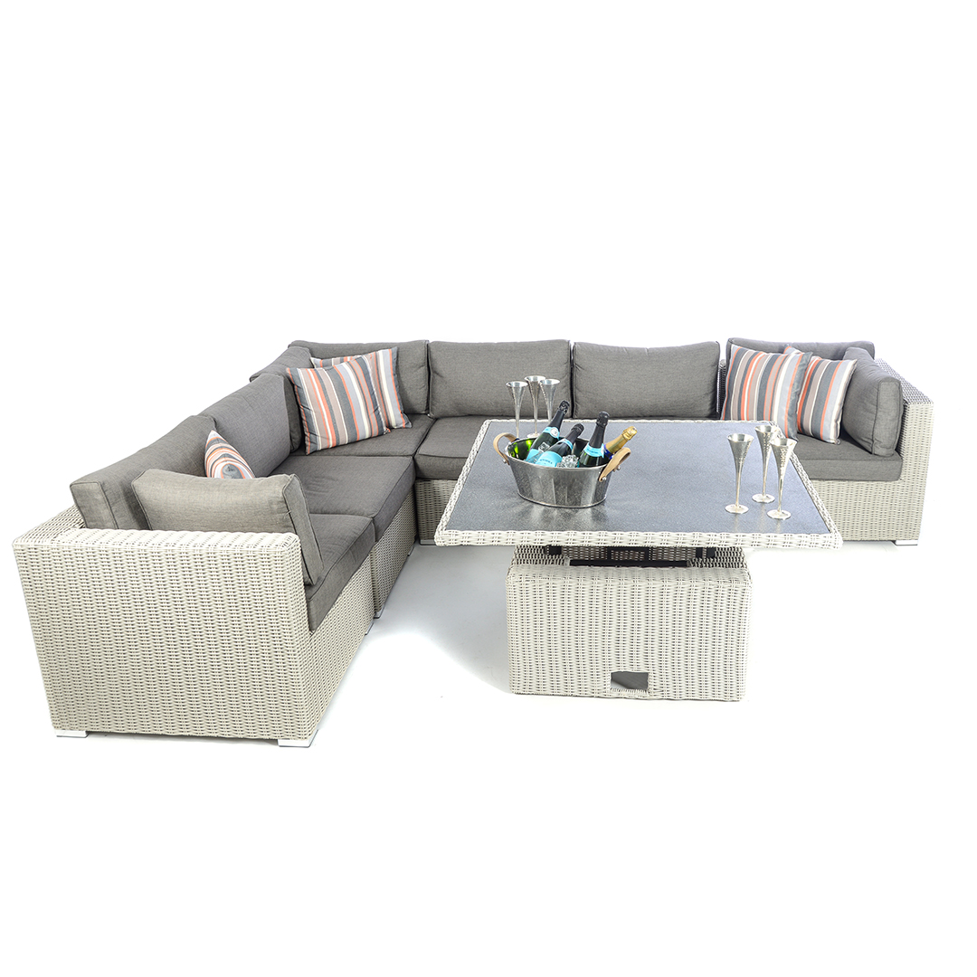 Rattan Sofa Corner Set Kensington Deluxe 6 Piece Low Back Modular Corner Set 3 Corners And 3 Middles Pebble