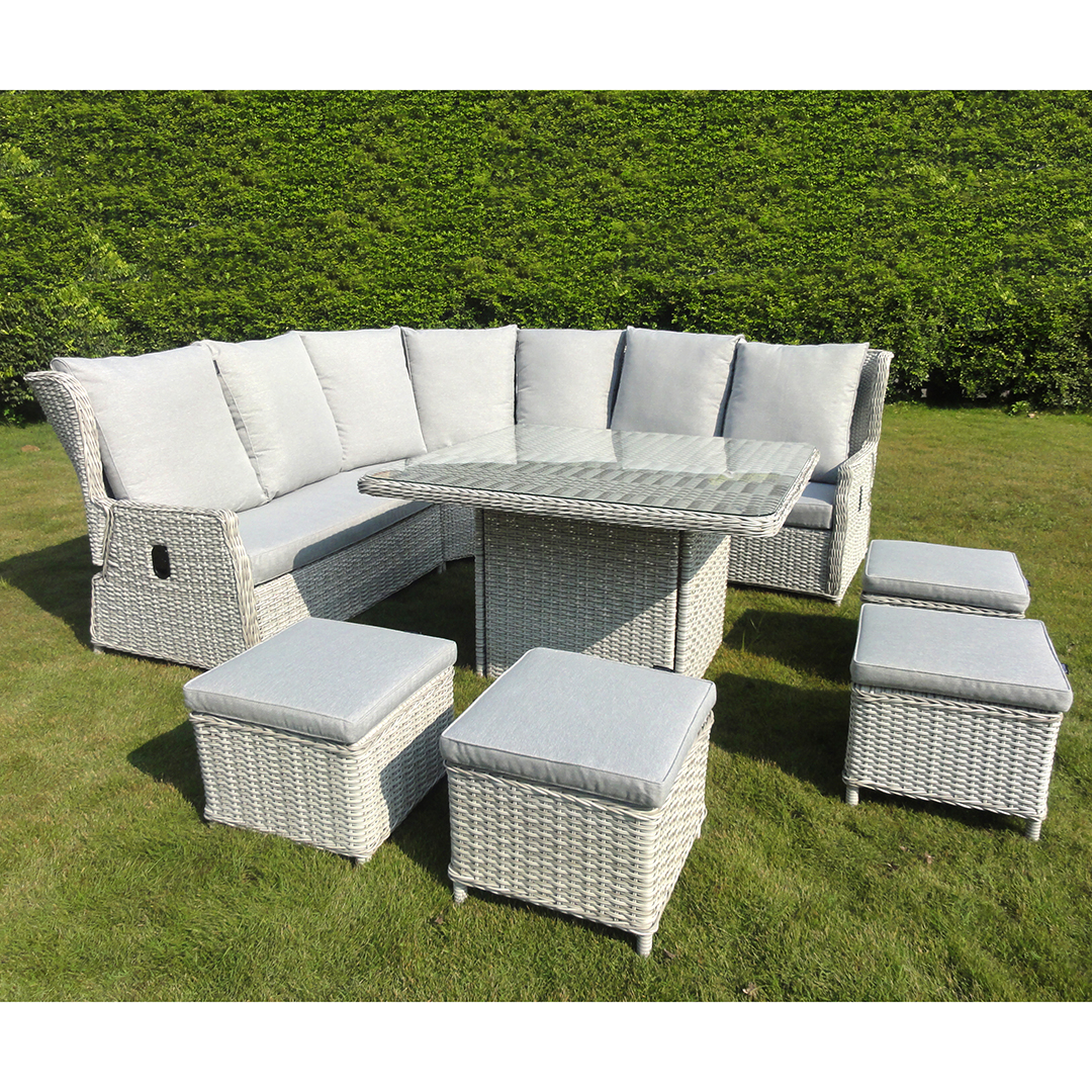 Rattan Sofa Corner Set Kensington Buckingham 8 Piece Reclining Corner Sofa Set Lunar