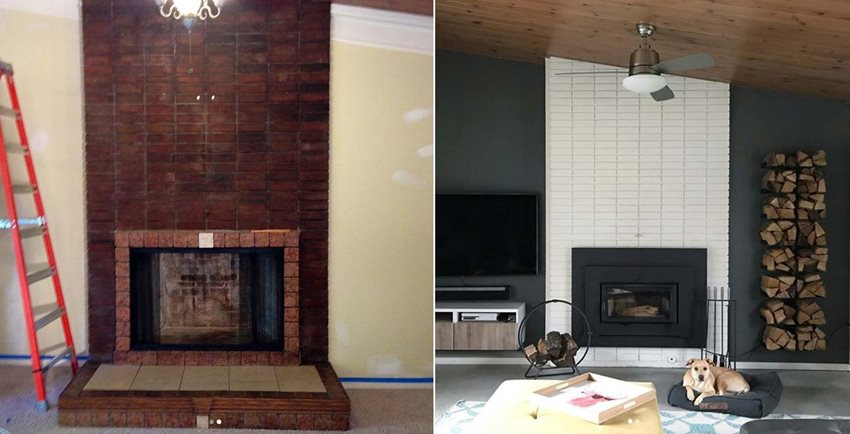 Lime Wash Brick Fireplace 10 Fireplace Makeover Ideas Before And After