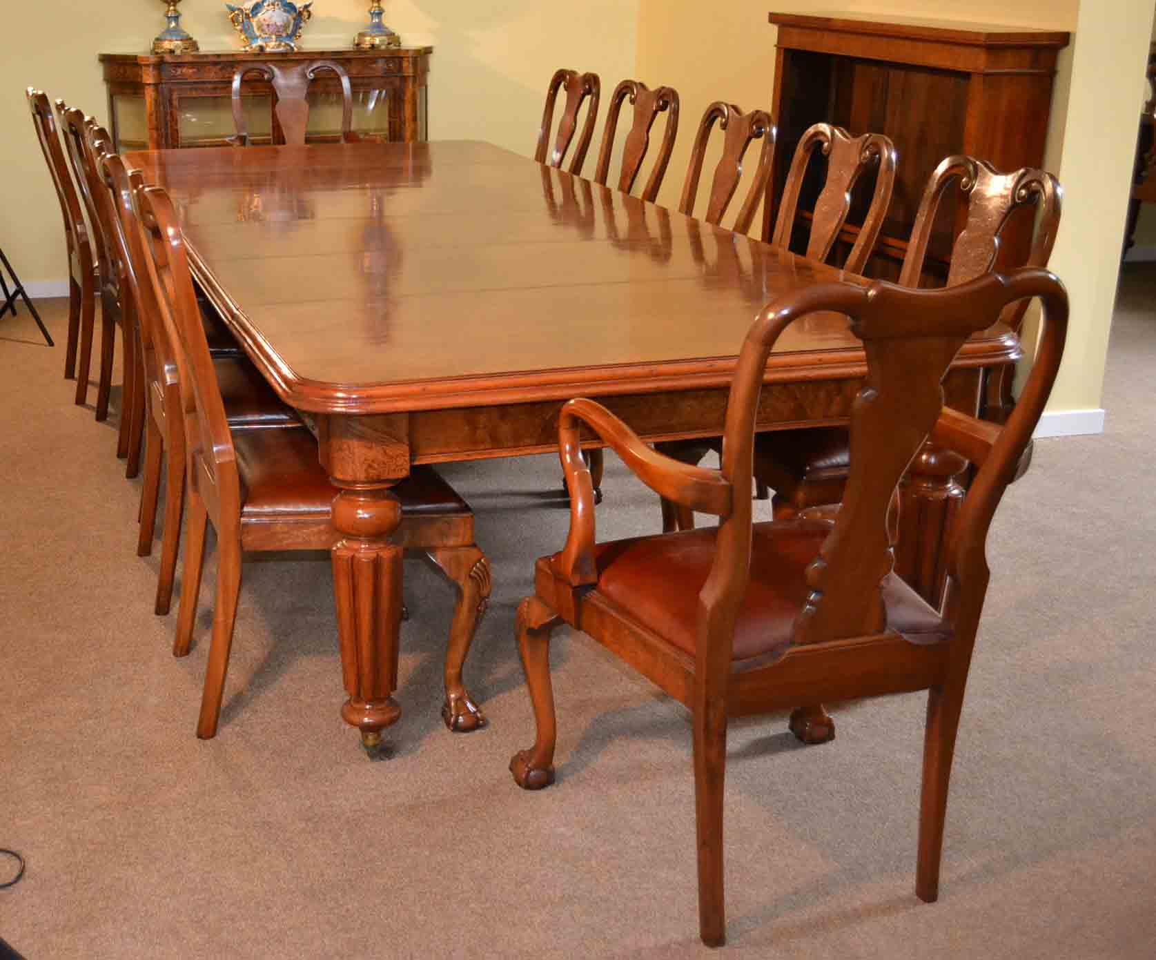 Dining Set 12 Chairs Antique Victorian Walnut Dining Table And 12 Chairs