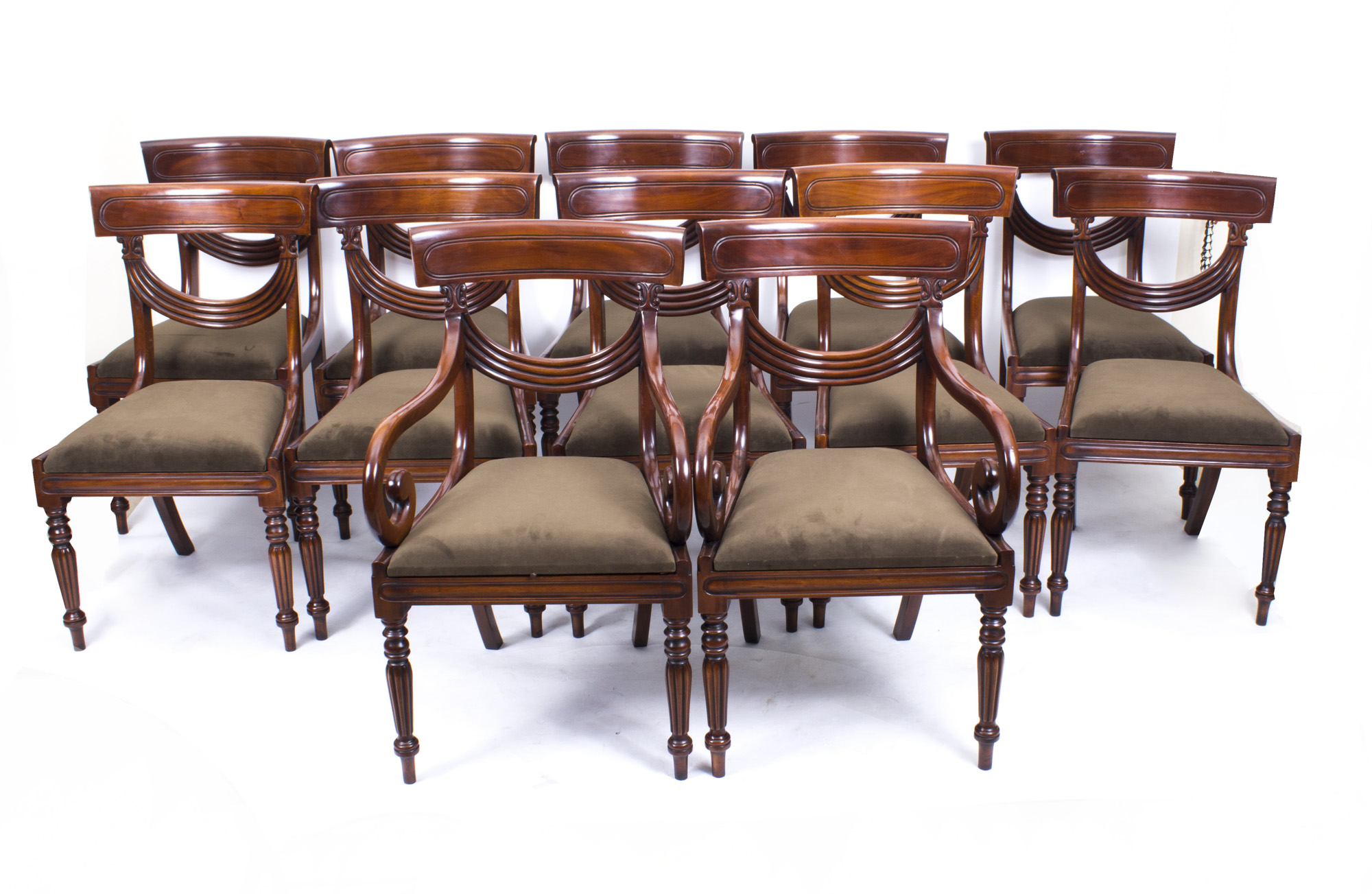 Dining Set 12 Chairs Set 12 Regency Style Mahogany Dining Chairs Regency