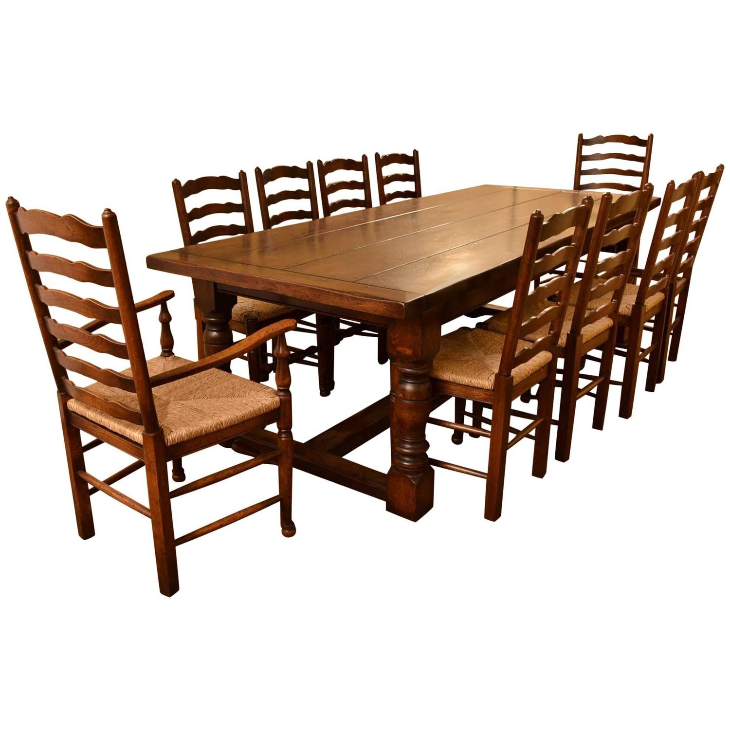 Kitchen Table Seats 10 Bespoke Solid Oak Refectory Dining Table And 10 Chairs