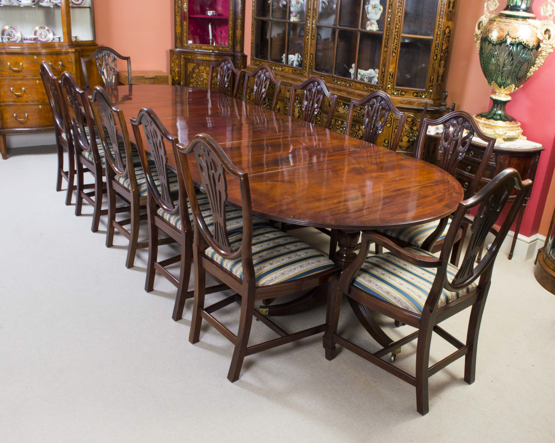 Dining Set 12 Chairs Antique Regency Dining Table And 12 Chairs C 1900