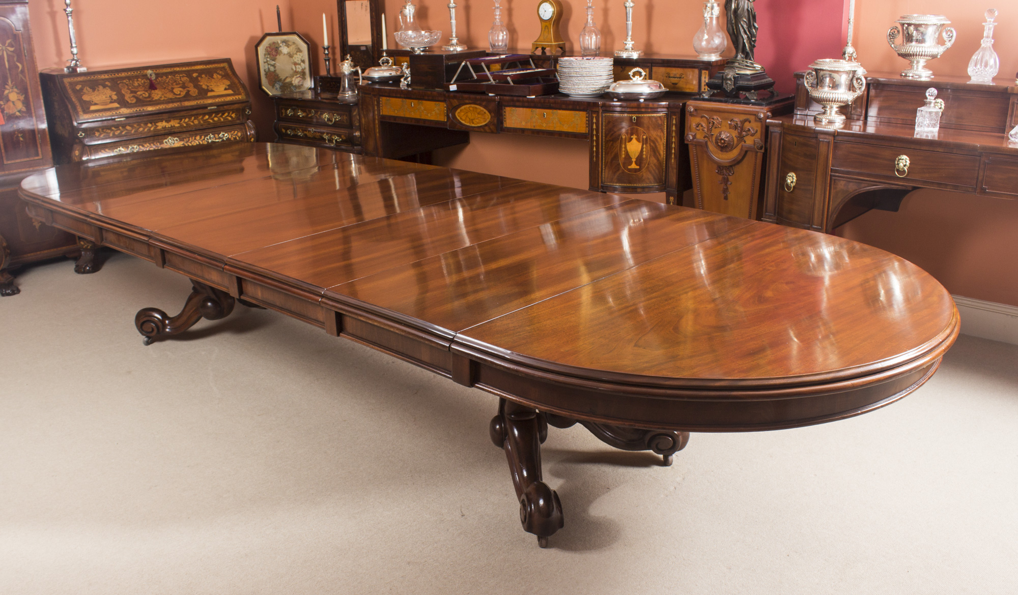 14 Foot Dining Table Antique Victorian 14 Ft Mahogany Twin Base Extending