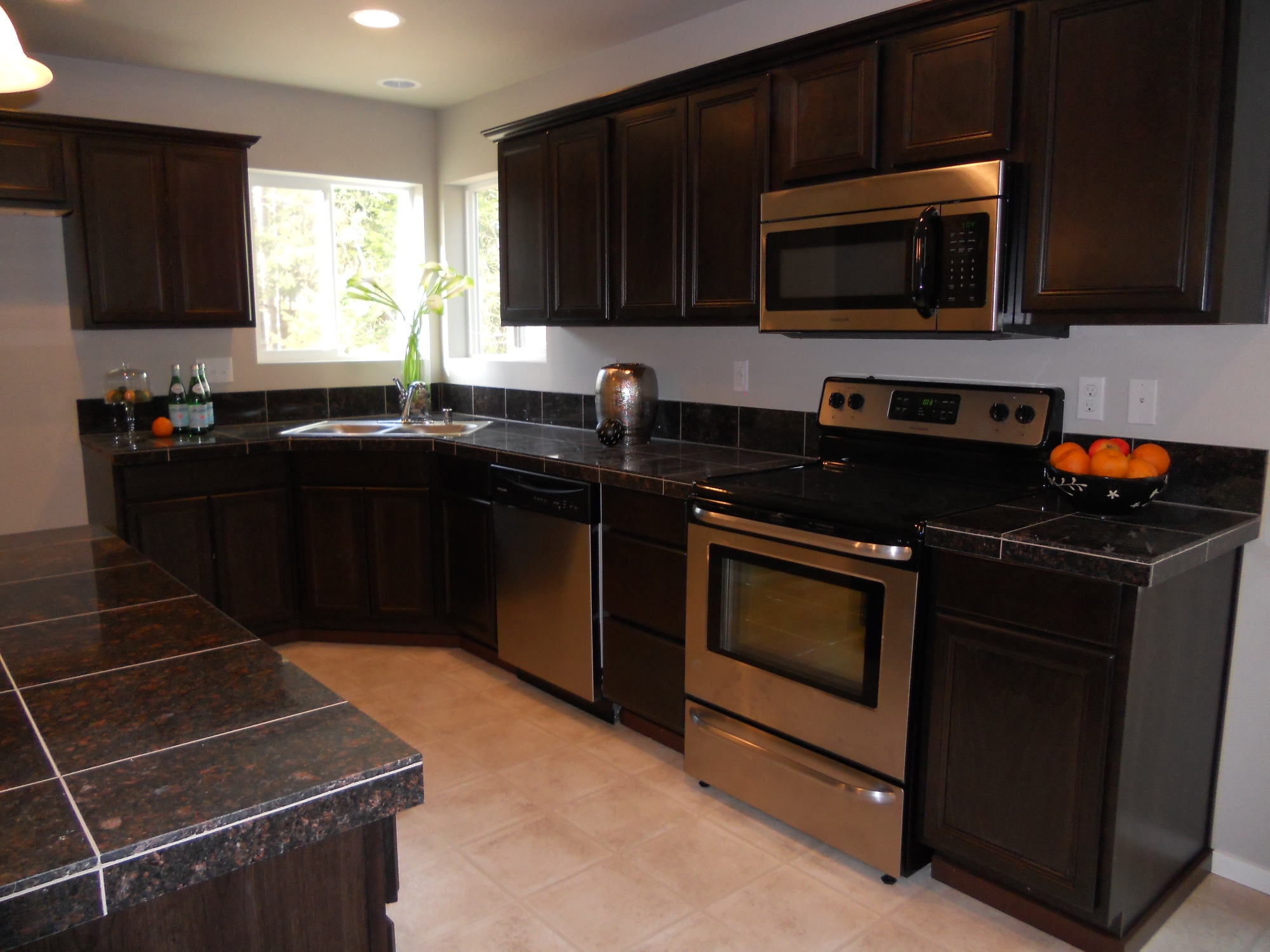 Dark Countertops With Dark Cabinets Model Home New Kitchen Design Regent Homes