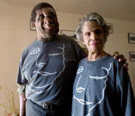 "Reggie and Mom in ""Just Ask!"" t-shirt."
