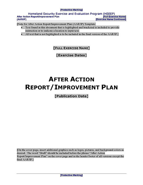 HSEEP-Compliant After Action Report and Improvement Plan Template