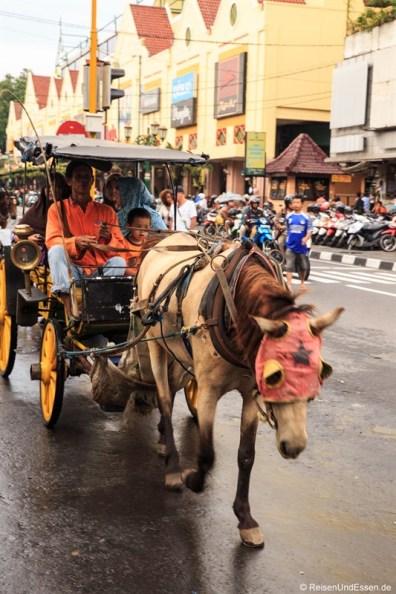 Pferde-Kutsche in der Jalan Malioboro in Yogyakarta