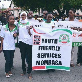 WOFAK youth leaders marching in Mombasa, Kenya, on a past  World AIDS Day .The rising number of new HIV infections among adolescents and youths is worrying.Picture: Courtesy