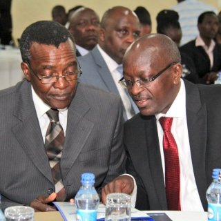 Chief Justice David Maraga (left) with Chair ICJ Kenya ,Njojo Mue at the National Conference on Decriminilzation and Re-Classification of petty offences in Kenya. Picture:Courtesy