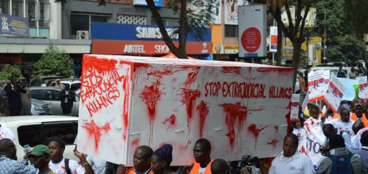 Members of civil society and activists march in the streets of Nairobi to demonstrate against the increasing number of deaths due to extra judicial killings.Picture:Courtesy
