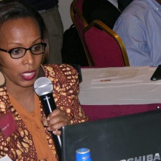 Martha Bekele, a data analyst at Development Initiatives addressing delegates at recent event of the Launce of report on disaster preparedness in Kenya graced by by data expert and other stakeholders.Picture:Fred Deya