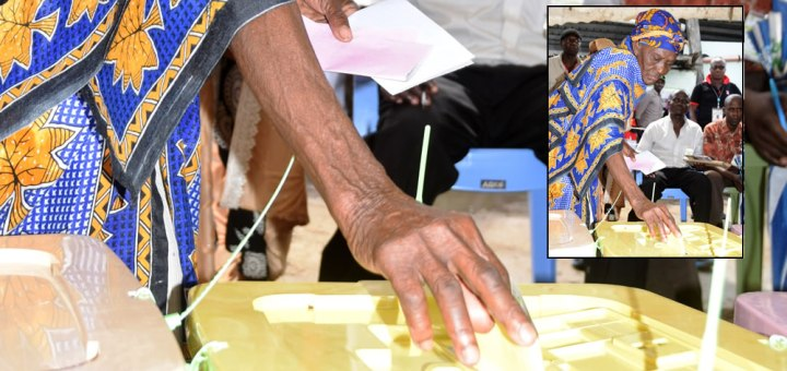A voter casts her ballot on August 8th .There was a high number of spoilt votes due to insufficient voter education. Picture:Andrew Kilonzo