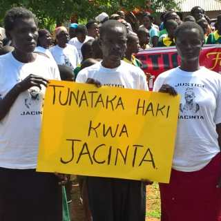 Members of the public during a demonstration to demand justice for Jacinta who is suspected to have been murdered.Picture :Omondi Gwengi
