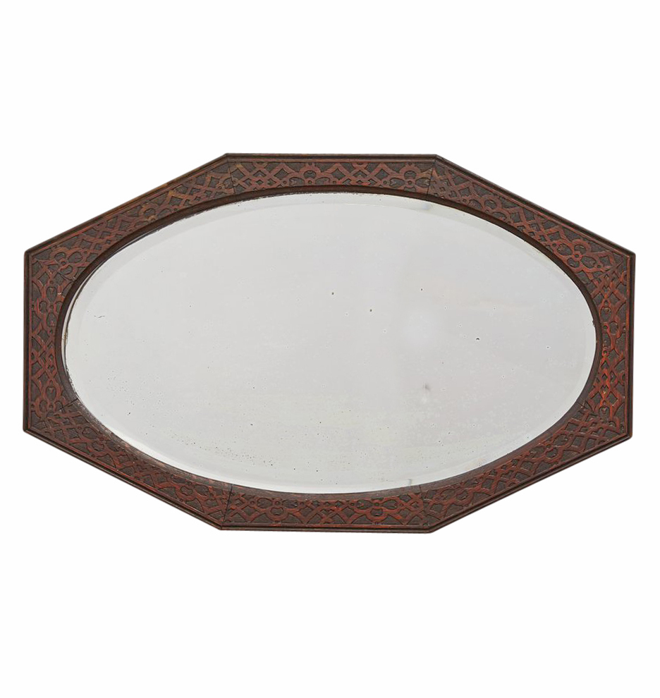 Oval Mirror Wood Frame Revival Style Oval Mirror W Patterned Wood Frame