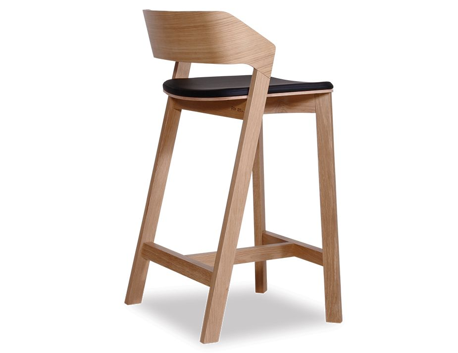 Black Alex Drawers Natural Oak Bar Stool With Black Pad - Designer Kitchen