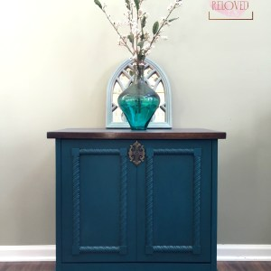 Teal Cabinet with Dark Stain Top