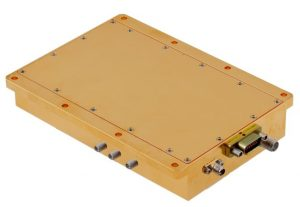 Box shaped yellow colored Transmit/receive (T/R) module