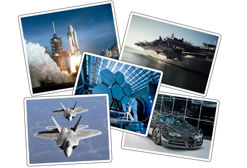 Collage picture of a rocket, fighter jet, fighter cruise and advanced technology car