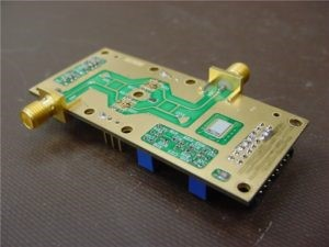 Small rectangular shaped, gold colored metal High power RF PCB technology