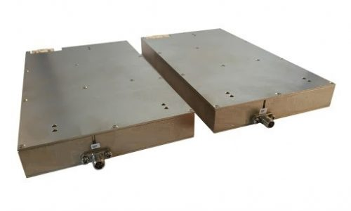 Two rectangular shaped brown color frequency up/down converters
