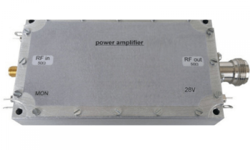 Rectangular shaped grey colored Radio frequency (RF) power amplifier