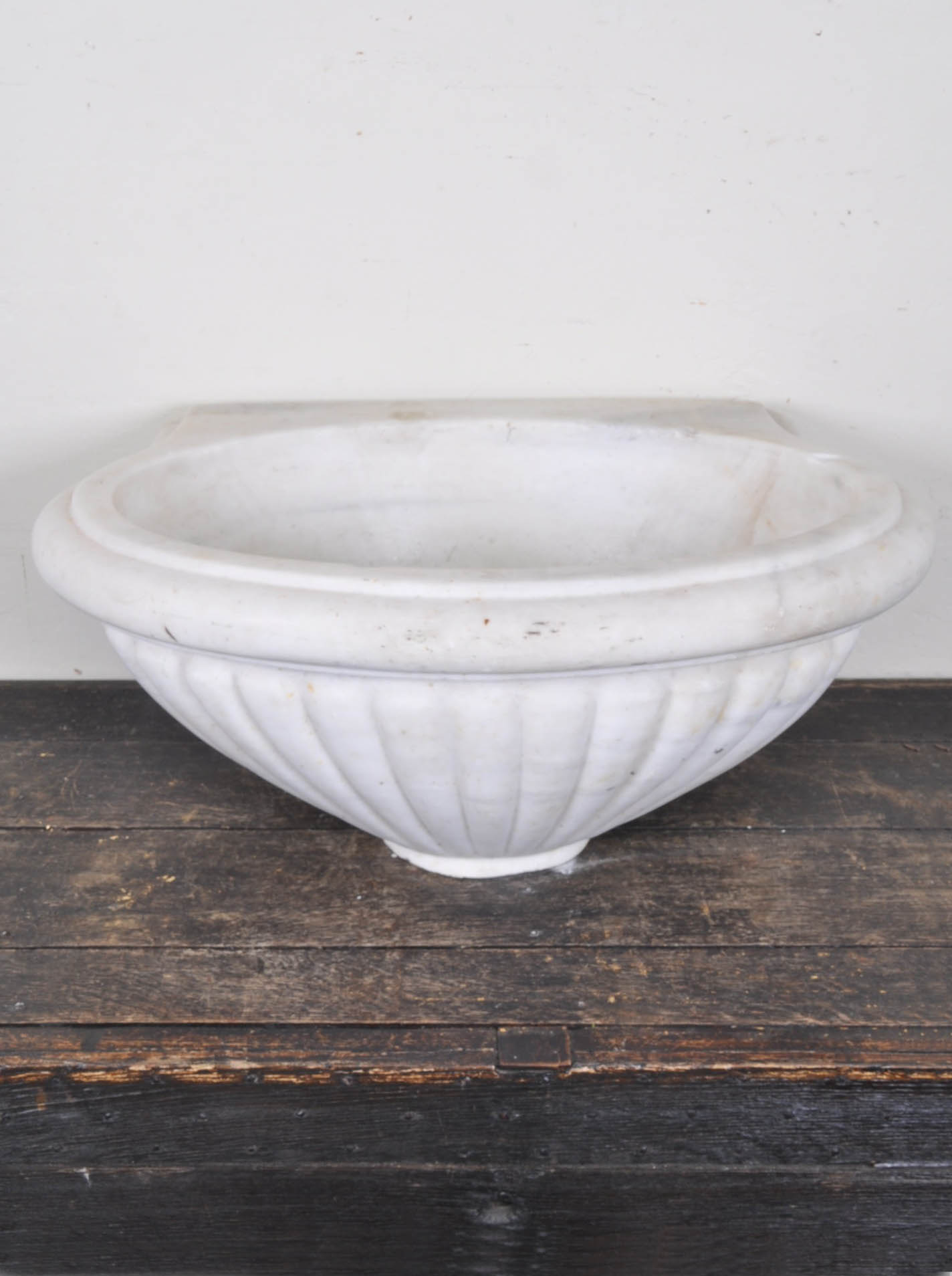 Marble Basin Antique Turkish Hand Carved Oval Marble Sink Basin With Scalloped Sides