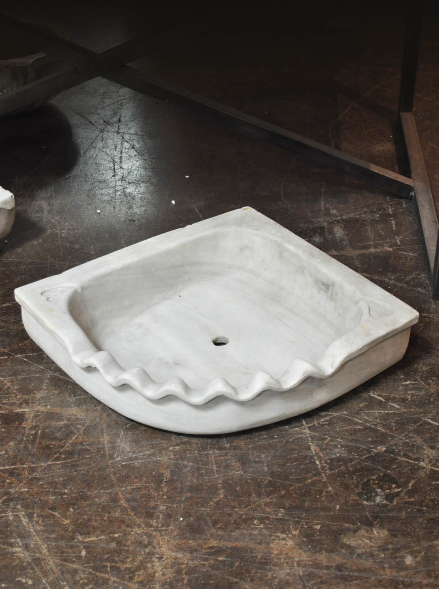 Marble Basin Antique Turkish Hand Carved Corner Marble Sink Basin