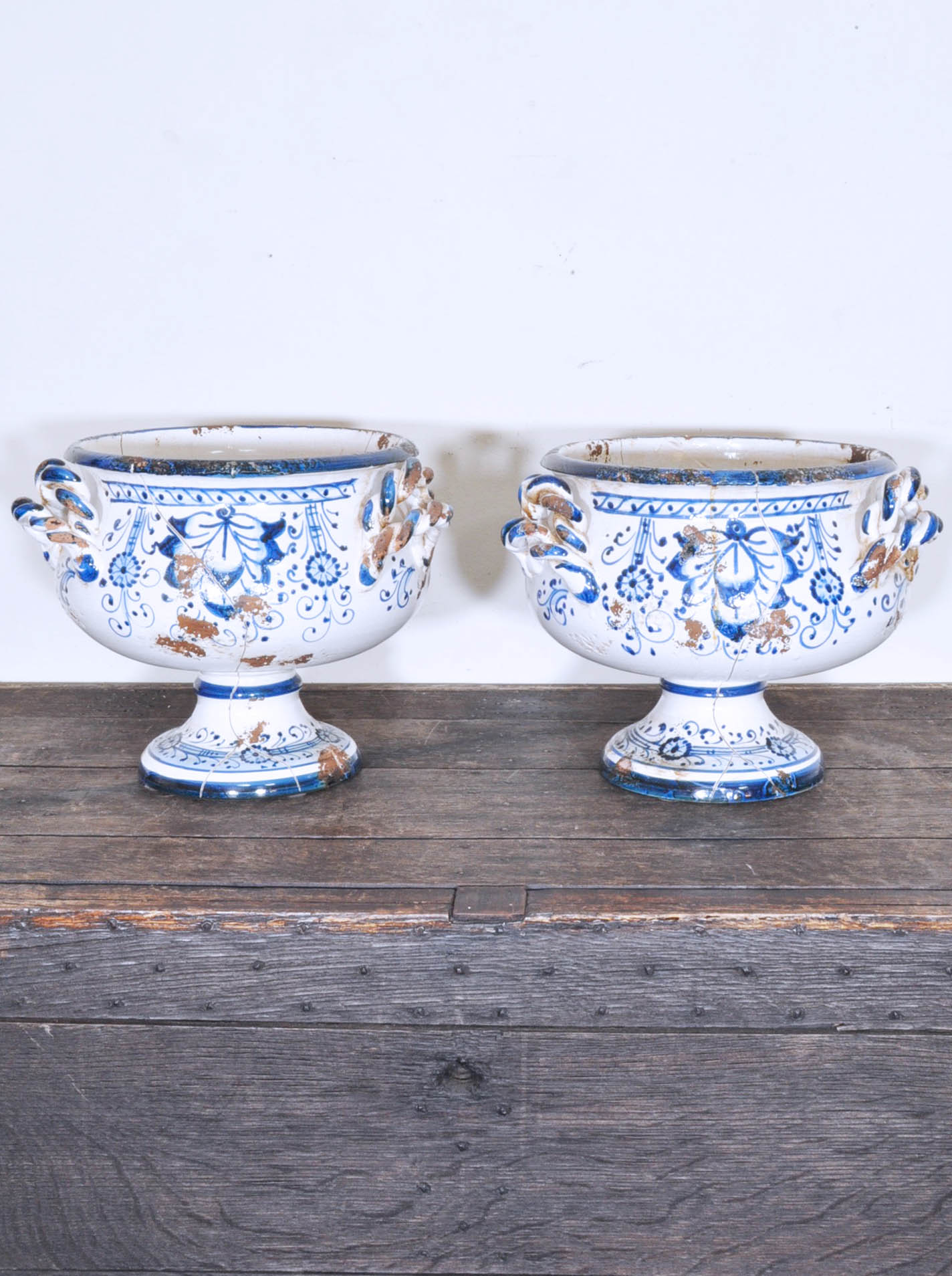 Arte Italica Customer Service Pair Of Arte Italica Three Handled Ceramic Footed Urns