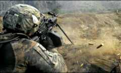 KUNAR PROVINCE, Afghanistan – U.S. Army Pvt. John Stafinski, an infantryman with 3rd Platoon, Company C, 2nd Battalion, 12th Infantry Regiment, fires his squad automatic weapon into an anti-Afghan forces location during a firefight in the Waterpur Valley, in Afghanistan's Kunar Province, Nov. 3.  4th Infantry Division Soldiers continue to provide security and provide humanitarian assistance in province. (Photo by U.S. Army Pfc. Cody A. Thompson, 40th Public Affairs Detachment)