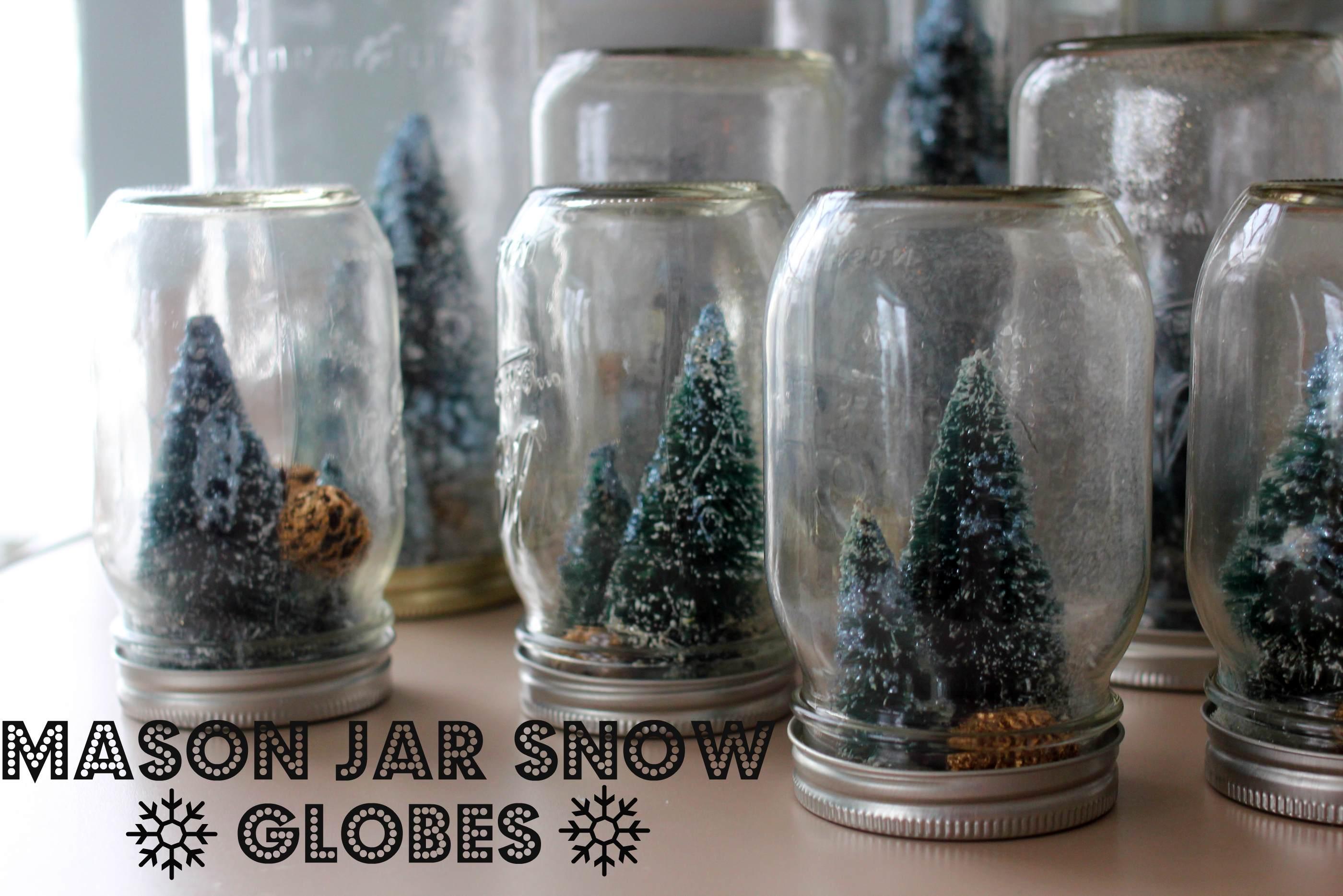 Homemade Holiday Mason Jar Snowglobes With Tiny Sparkly