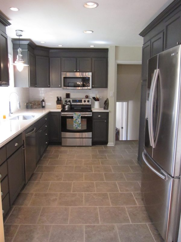 Kitchen Grey Floor Brown Cabinets Remodelaholic | Charcoal Grey Kitchen Cabinets