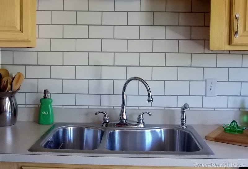 painted subway tile backsplash remodelaholic painting kitchen tile backsplash kitchen backsplash