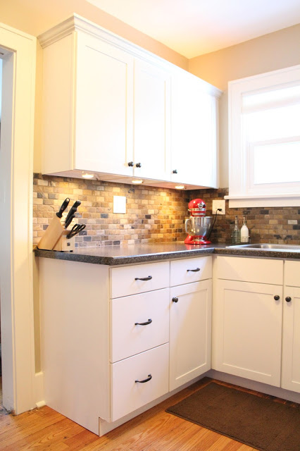 small kitchen remodel featuring slate tile backsplash remodelaholic kitchen backsplash sandstone backsplash kitchen sandstone splashback