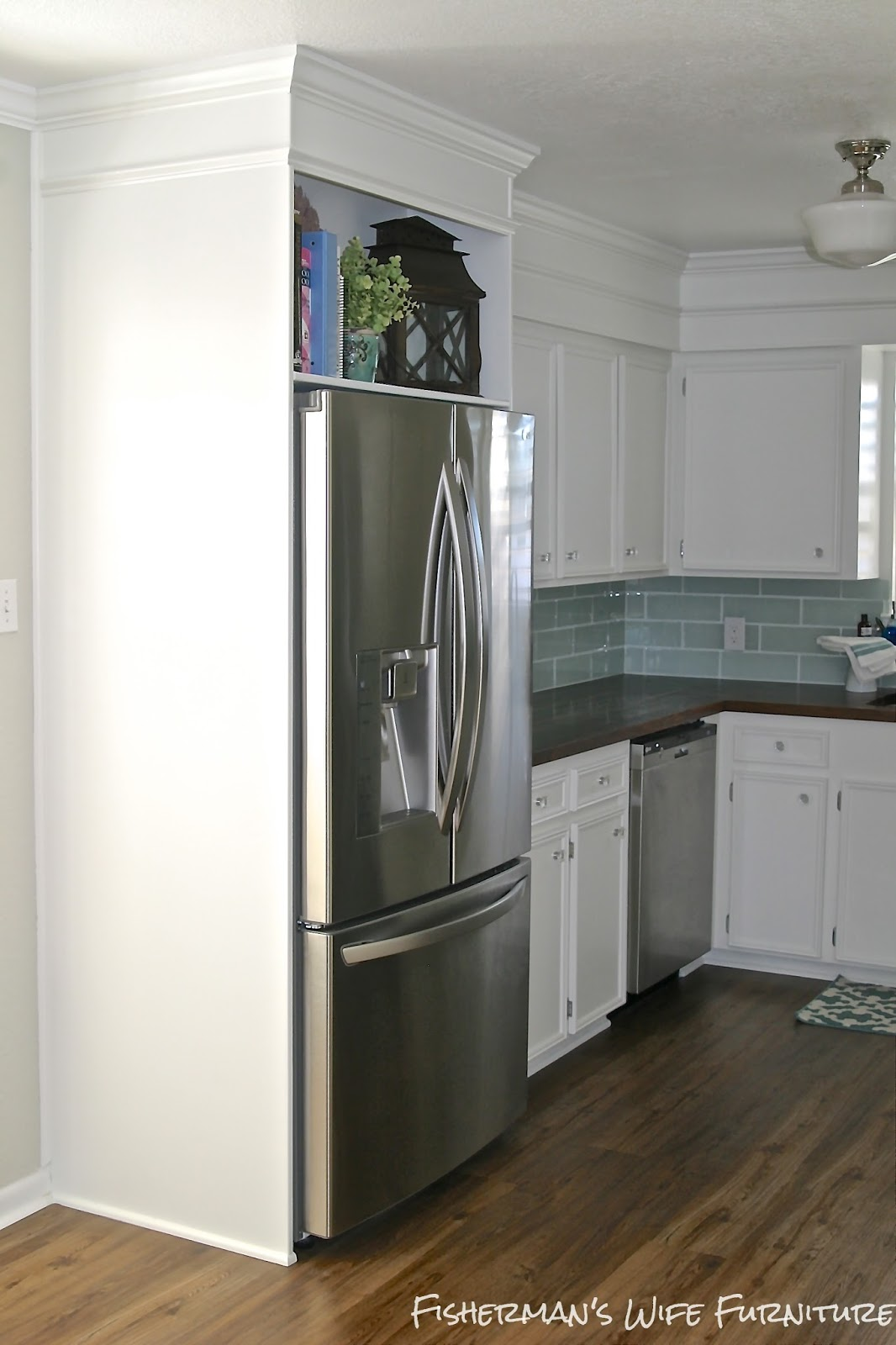 Kitchen Cabinets Around Refrigerator Small White Kitchen Makeover With Built In Fridge
