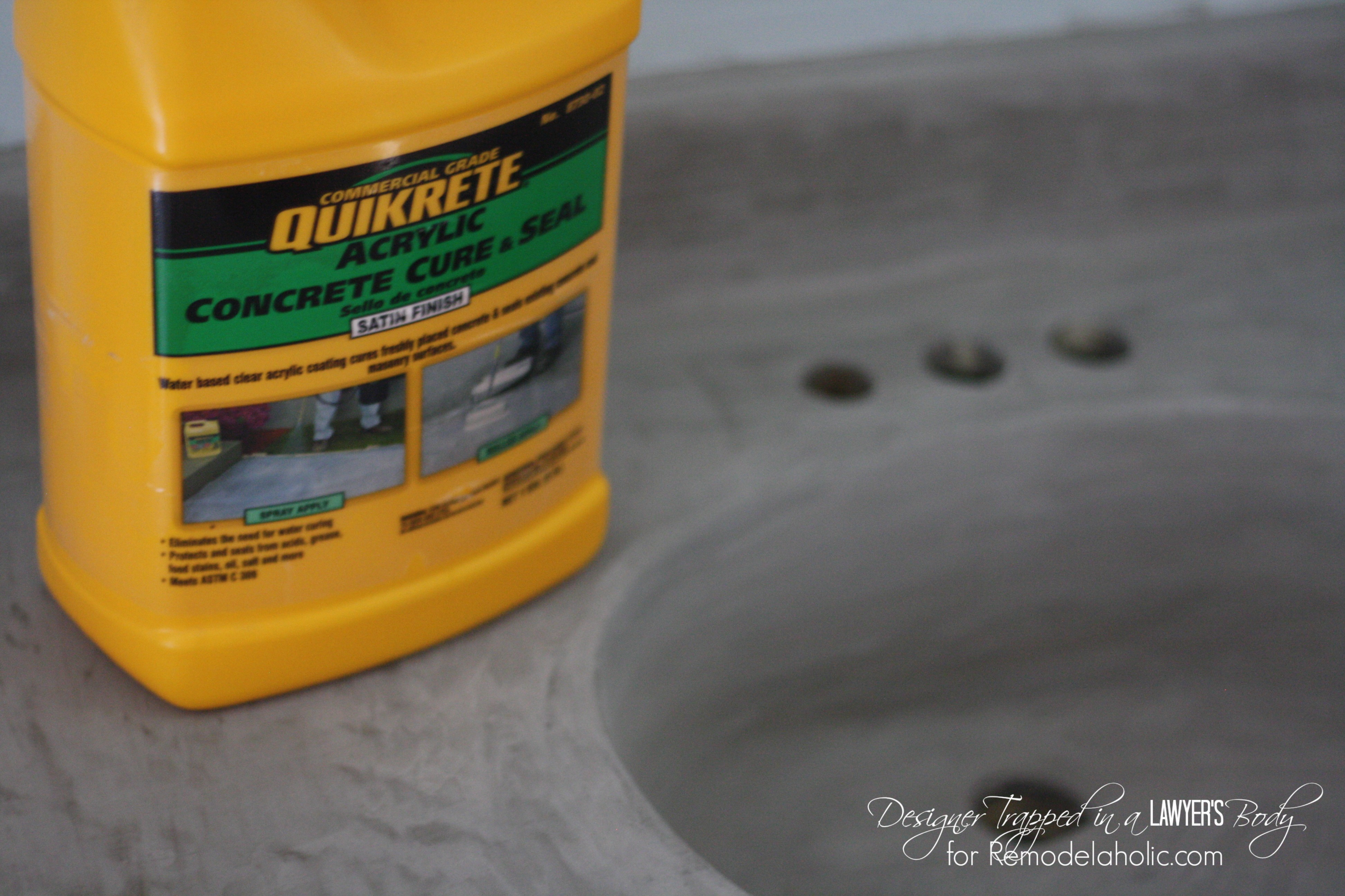 How To Seal Concrete Countertops Remodelaholic Diy Concrete Vanity With Integral Sink