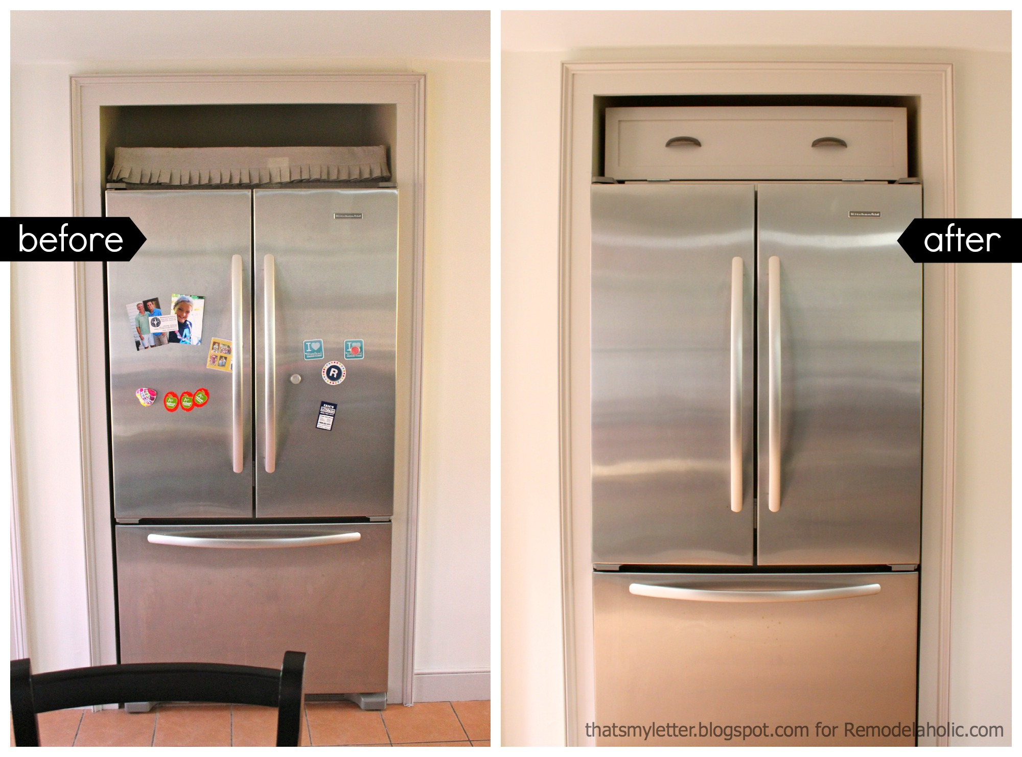 Kitchen Cabinets Around Refrigerator Remodelaholic Build A Cabinet Over The Fridge