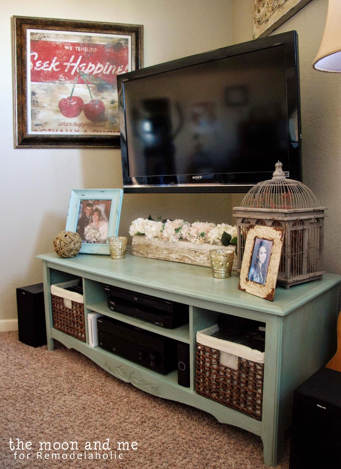 Tv Stand Decor Ideas Remodelaholic Turn An Entertainment Center Into A Tv