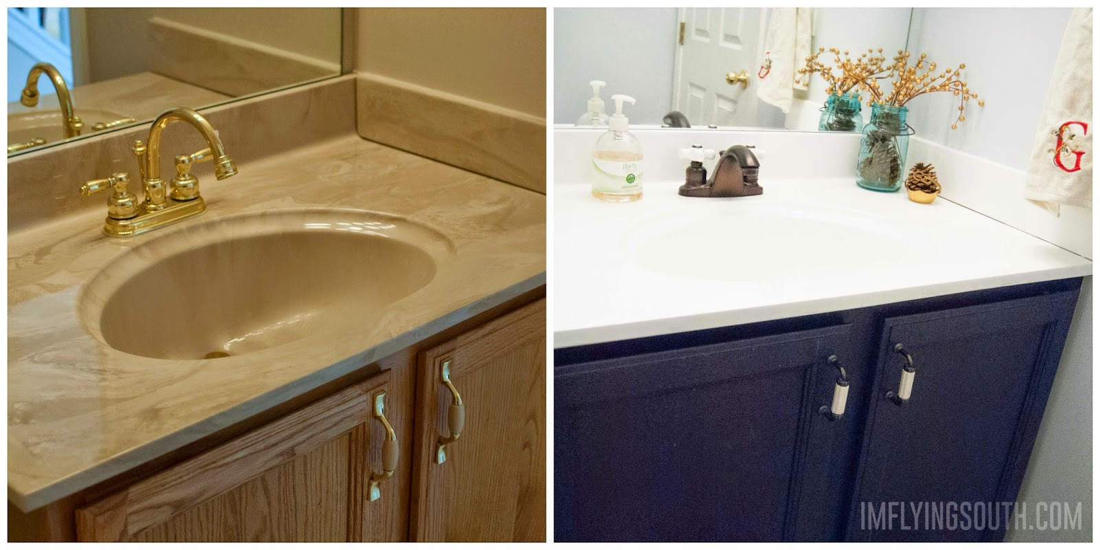 Waschbecken Lackieren Remodelaholic Painted Bathroom Sink And Countertop Makeover