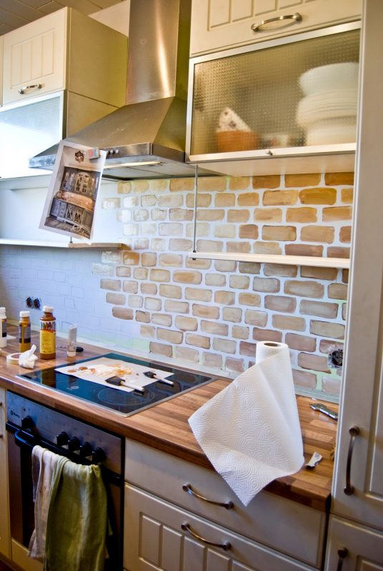 small kitchen painted faux brick backsplash pudel design painting kitchen tile backsplash kitchen backsplash