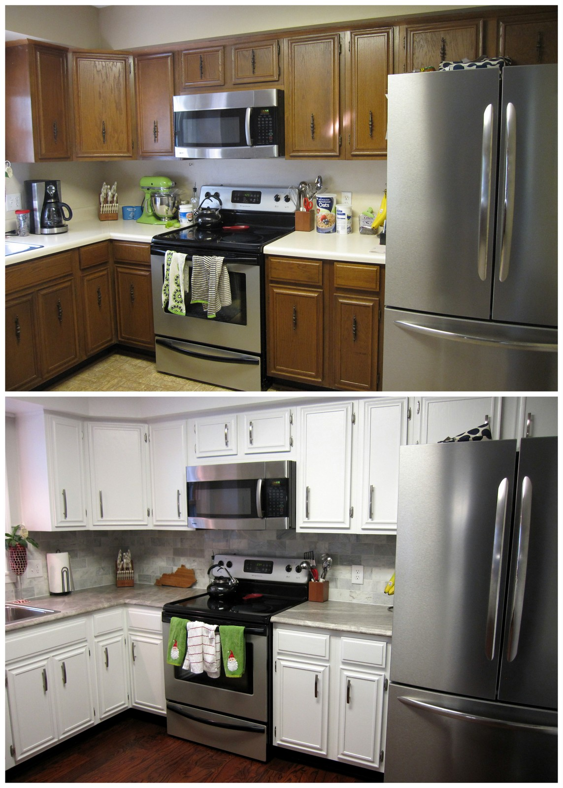 How To Paint Kitchen Cabinets With A Roller Remodelaholic Diy Refinished And Painted Cabinet Reviews