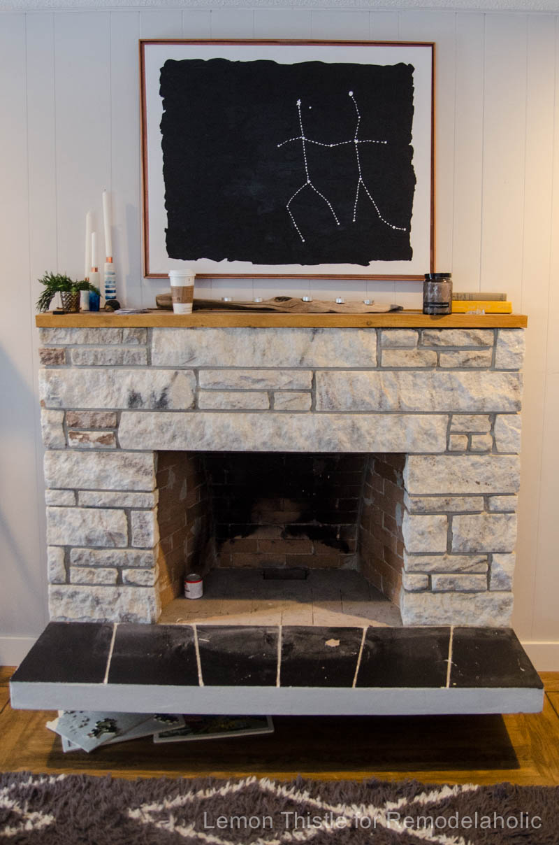 Heat Resistant Paint Fireplace Remodelaholic Diy Stone Fireplace Update With Live Edge Wood Mantel